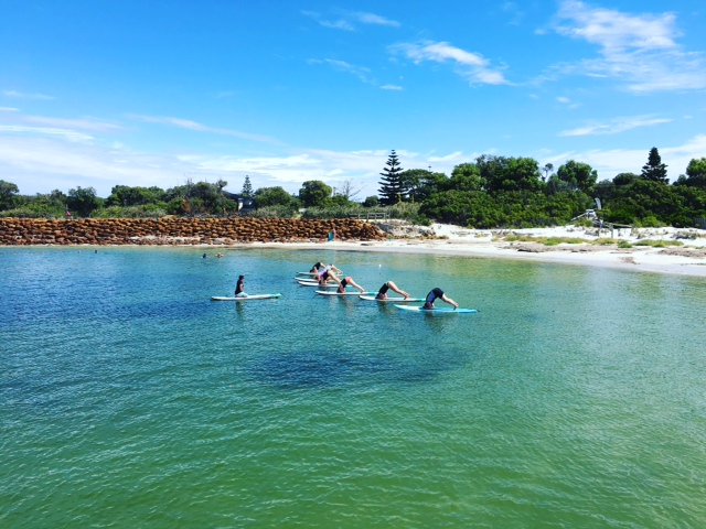 sup yoga class at emu point in Albany